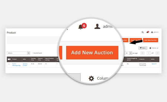 Add/delete Auction Feature for Products