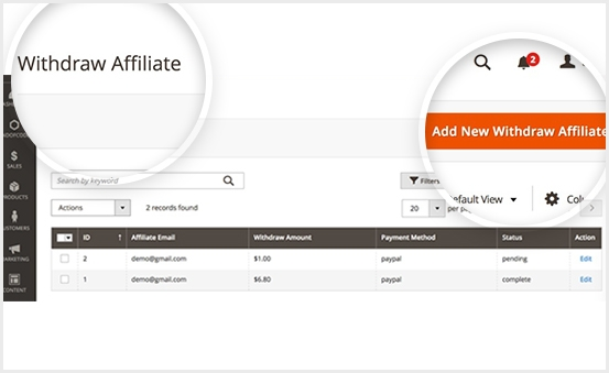 With Magento 2 Affiliate Extension, Monitor affiliate email, balance, commission, status, customer account