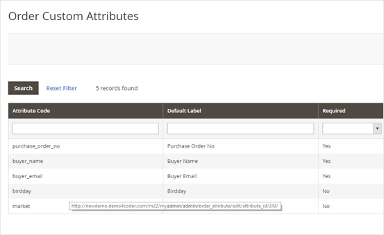 Magento 2 Order Attributes Extension - Order Attributes Lists Management