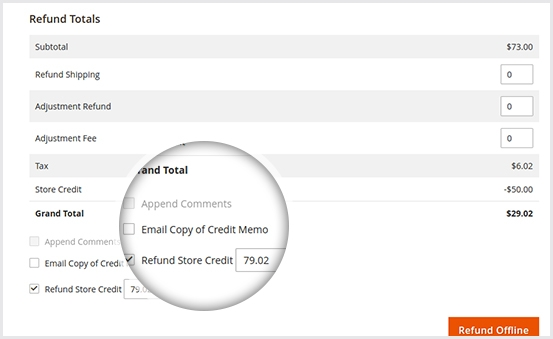 Restore redeemed credit when order is refunded