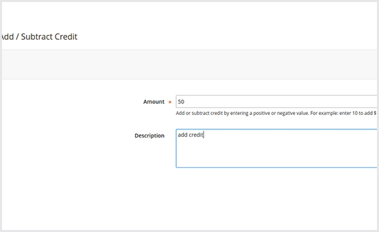 Add or Subtract a credit value from backend