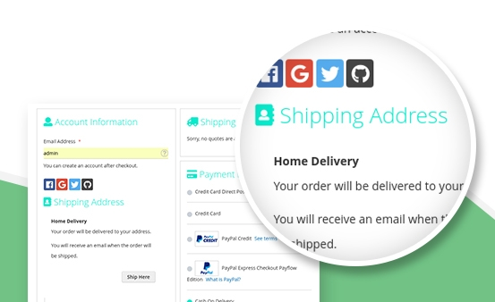 Select delivery address in the checkout page by one click