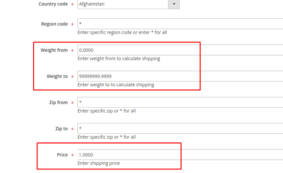 set shipping price based on weight in magento 2