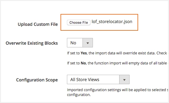 Import store locations by CSV/ Json file
