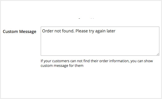 Display custom messages if order is not found