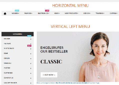 Vertical & horizontal menu created by magento 2 mega menu pro