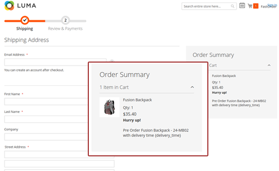 Magento 2 pre order note on the checkout page