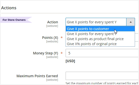 Create Various Earning Rating Reward Points