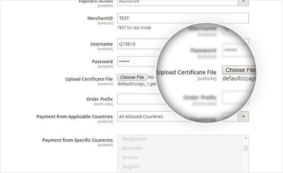 Allows upload certificate file in Magento backend