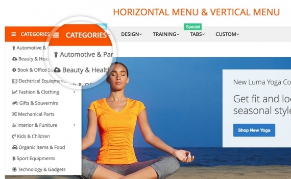 Magento 2 mega menu show horizontal & vertical menu at once