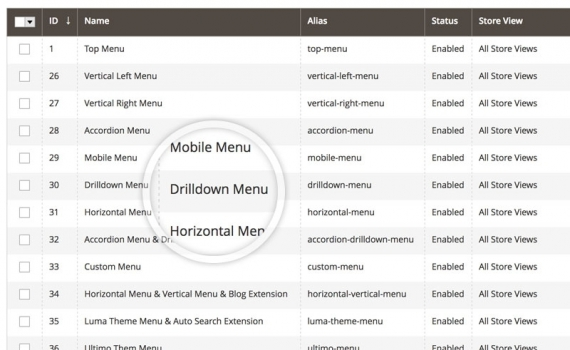Magento 2 mega menu extension with 16 Premade Menus