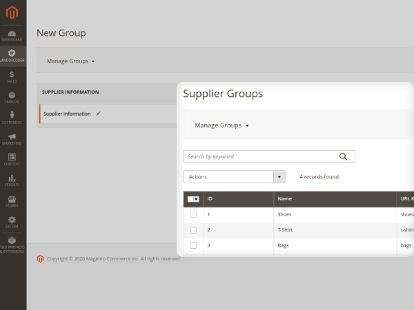 Magento 2 suppliers management groups