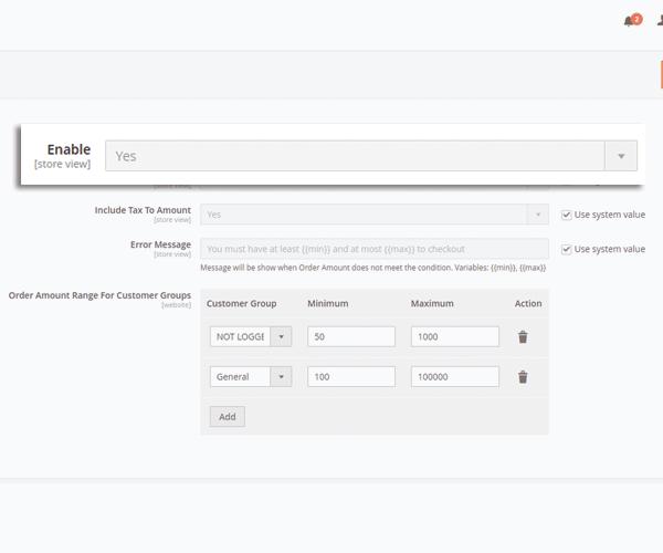 enable maximum minimum order amount in magento 2