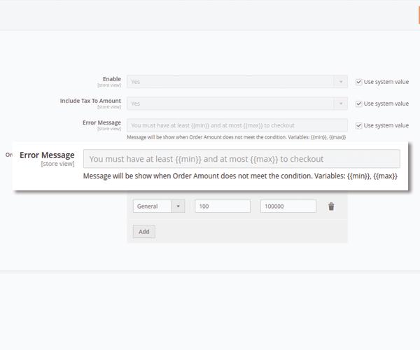 magento 2 minimum order amount customize message