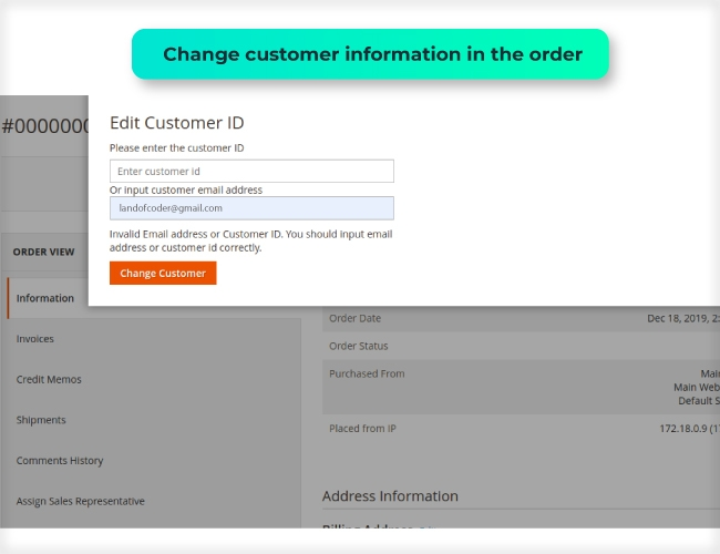 Edit the customer data