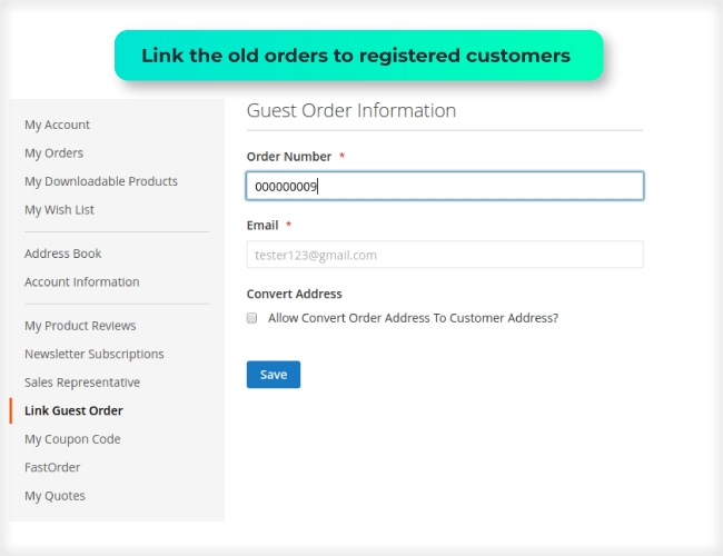 Magento 2 Guest to customer link the old orders to registered customers