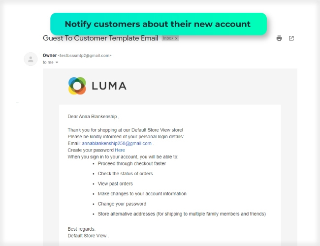 Notify customer about new account via email