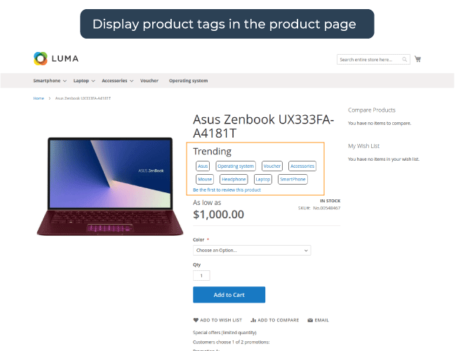 Show Product Tags on detail page