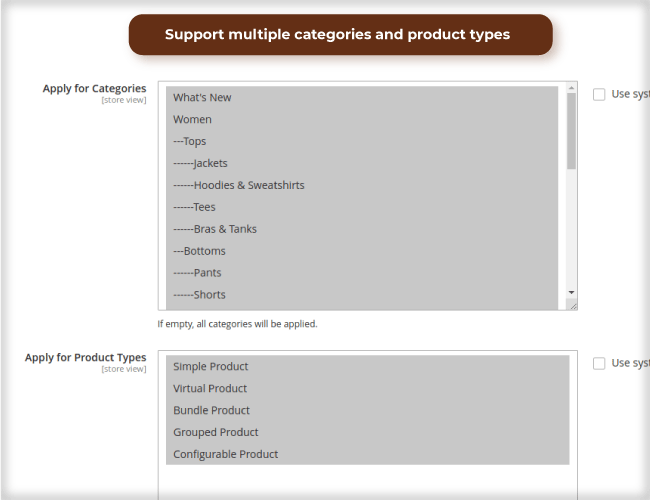 Support many product types