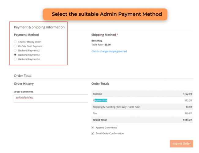 Select the suitable admin payment methods