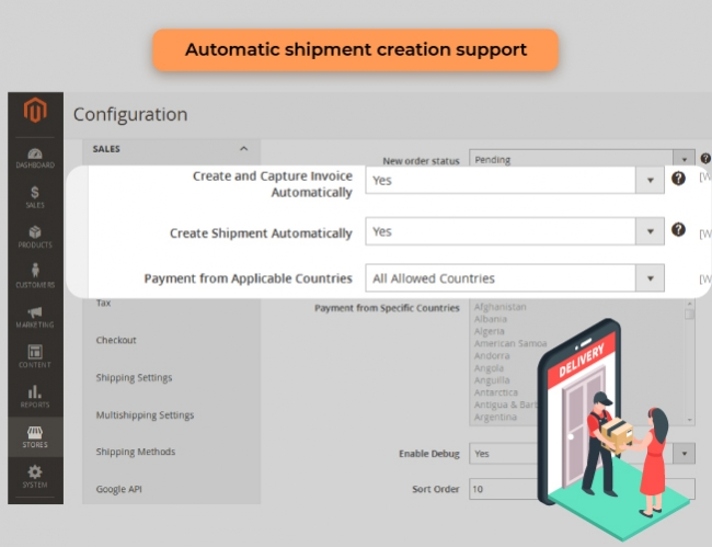magento 2 admin payment method set shippment fee