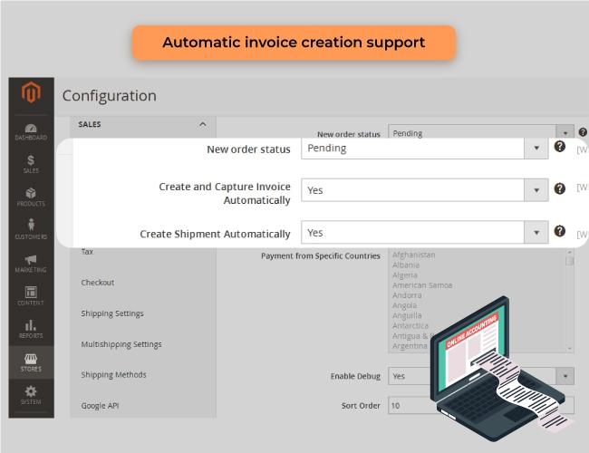 magento 2 admin payment method crate invoice automatically
