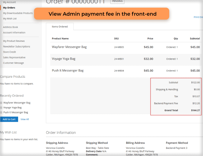 View admin payment method front-end