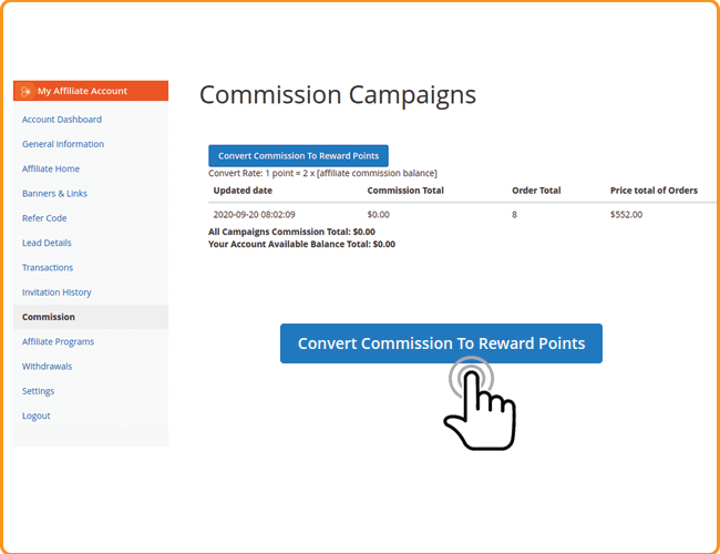 magento 2 convert affiliate commission to reward points