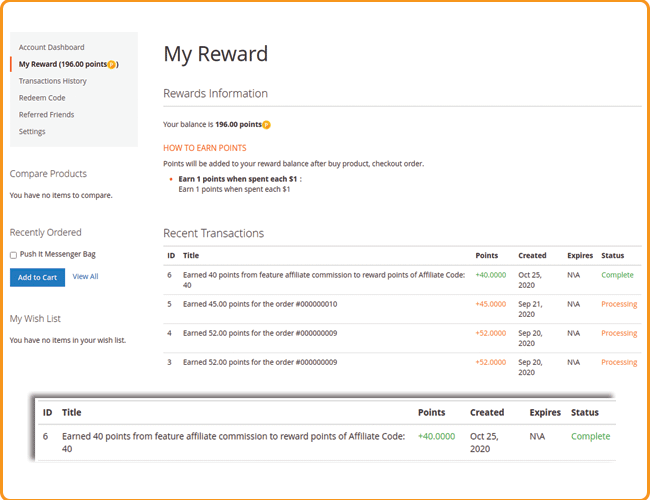 magento 2 affiliate commission to reward points transactions in my reward