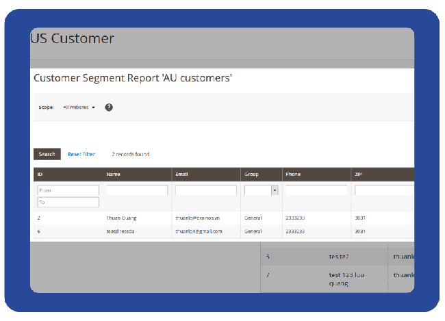 Report segment customers and export csv file
