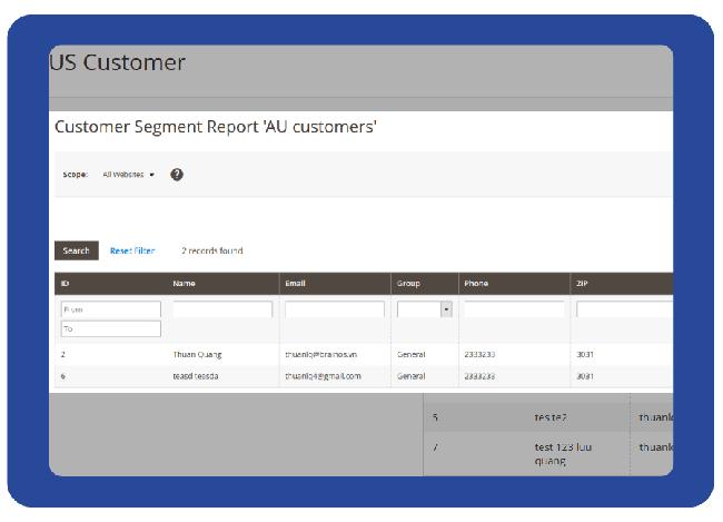 Report segment customers and export csv file