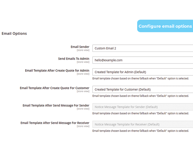 magento 2 request for quote configure email options