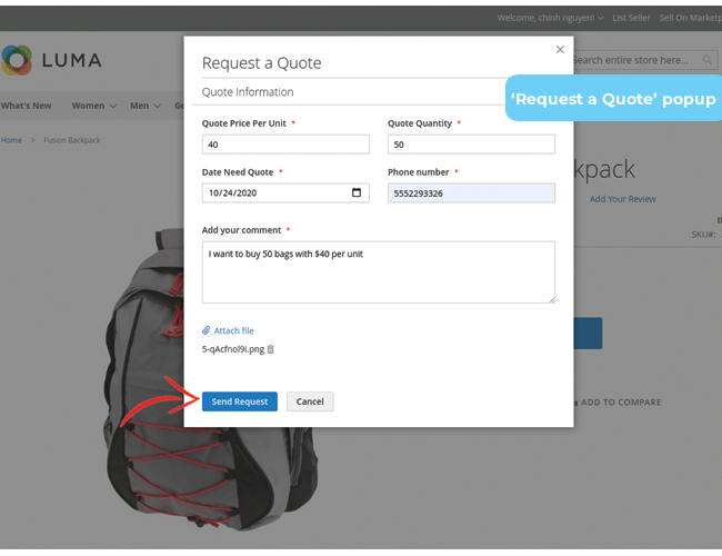 magento 2 request for quote submit quotation form