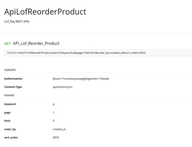 magento 2 reorder product with rest api