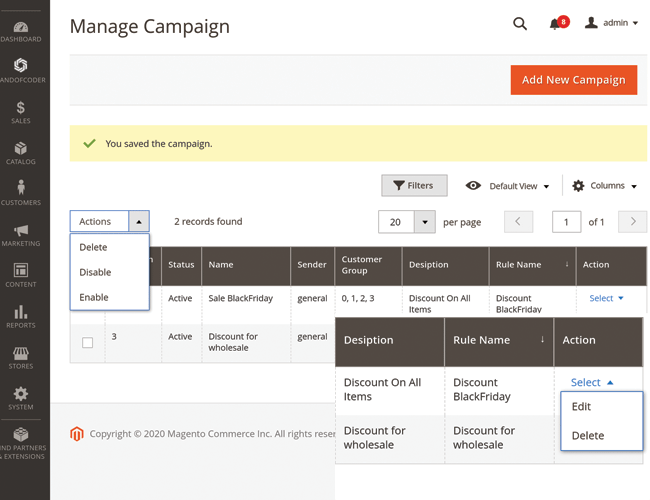 magento 2 post purchase email manage campaigns