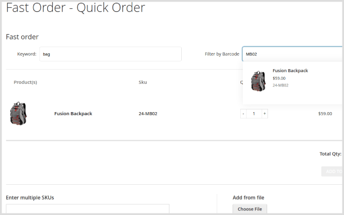 Magento 2 Quick Order Extension: filter product attribute