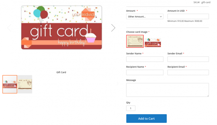 Personalize Gift Cards