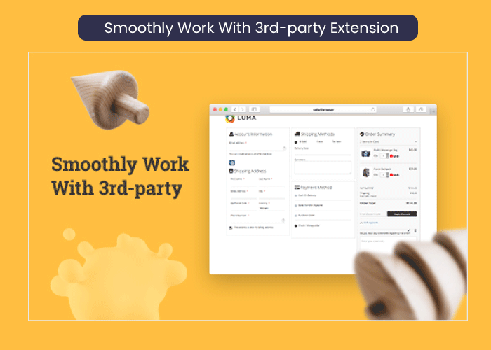 Magento 2 one step checkout Smoothly Work With 3rd-party Extension