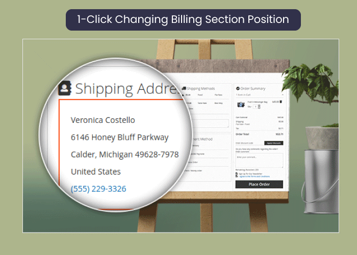 one step checkout for magento 2 1-Click Changing Billing Section Position (Coming Soon)