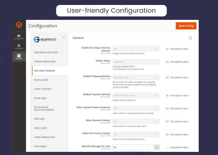 User-friendly admin configuration