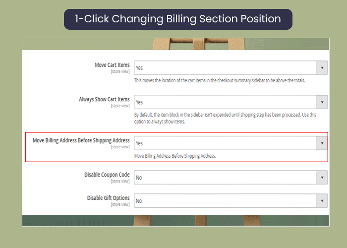 one step checkout for magento 2 change billing section position