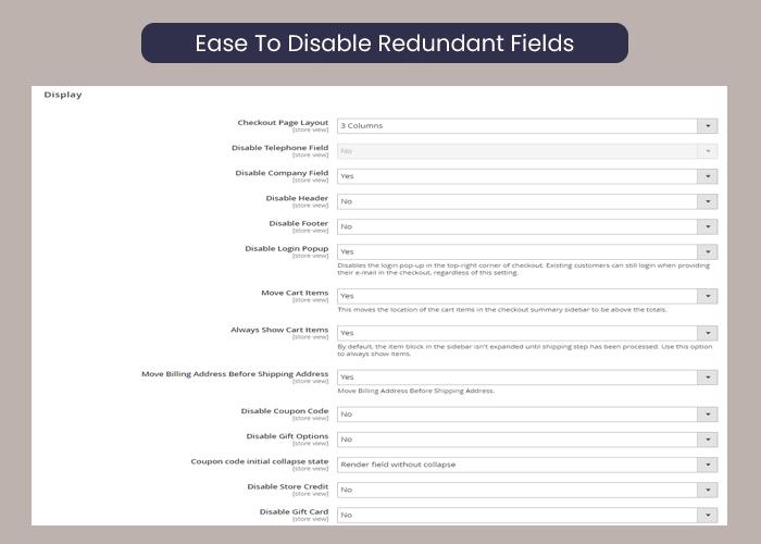 Magento 2 one step checkout disable redundant fields