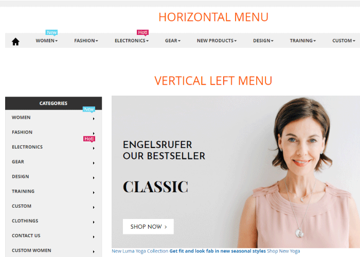 Vertical menu & horizontal menu