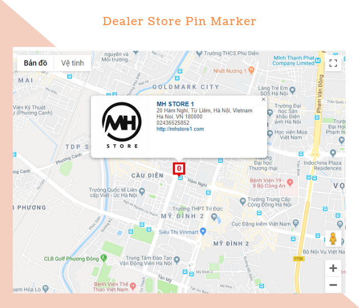 Magento 2 Dealer Extension store pin marker with summary information