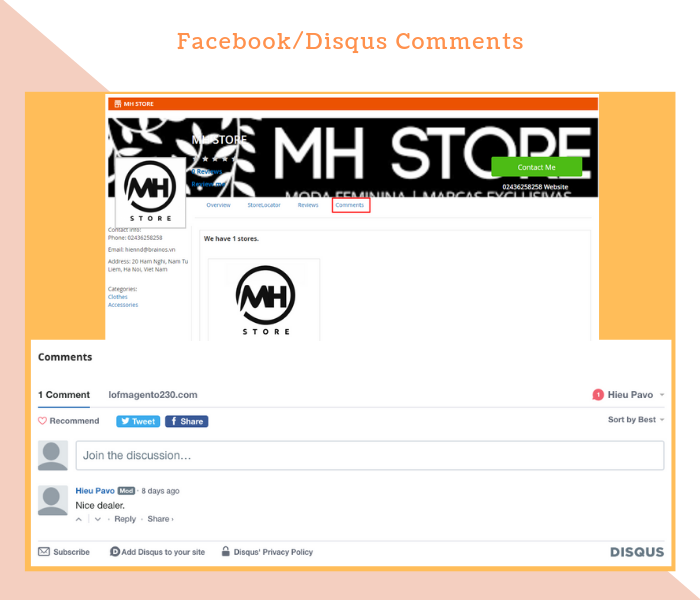 Magento 2 Dealer Extension With Facebook/Disqus Comments Plugin