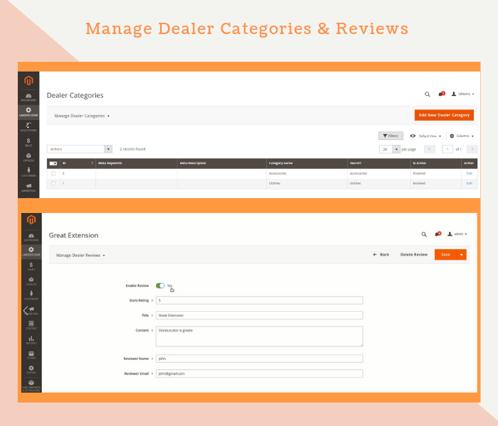 Magento 2 dealer extension manage dealer categories & reviews