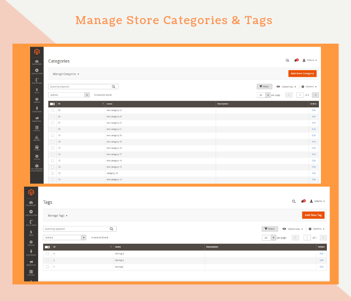 Magento 2 dealer extension manage store categories & tags