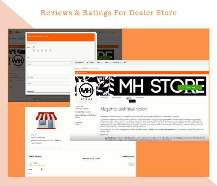 Magento 2 Dealer Extension Show Rating & Reviews For Dealer Stores