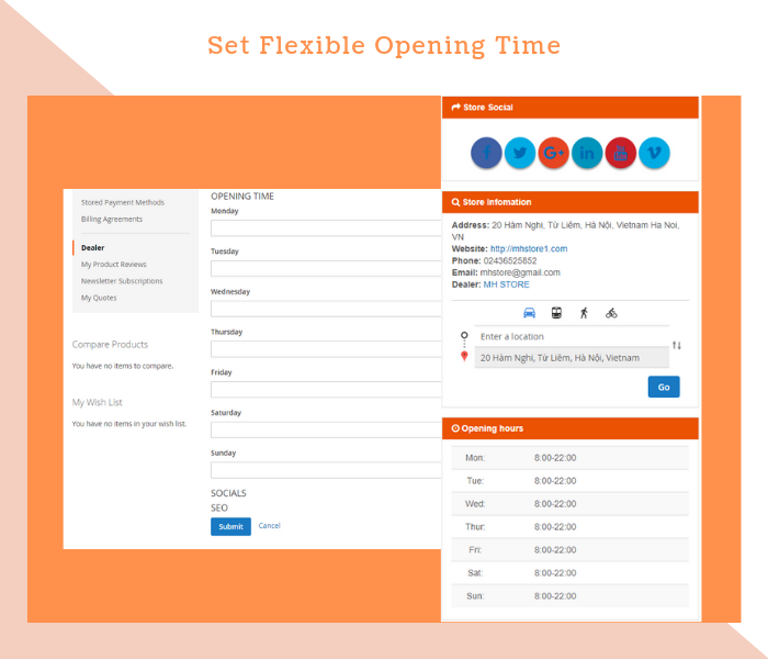 Magento 2 dealer extension set opening time for stores