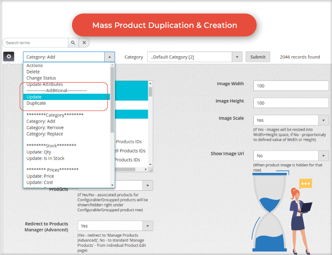 Create & Duplicate products mass action
